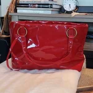 Neiman Marcus Red Vinyl Leather Tote Waterproof